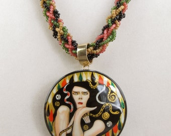 Green, Beige, Black and Terracotta Kumihimo Necklace with Russian Pendant