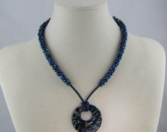 Blue Moonlit Lagoon Kumihimo Necklace