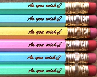 as you wish. pastel pencil set of 6. engraved pencils.