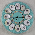Turquoise Oyster Shell Wall Clock