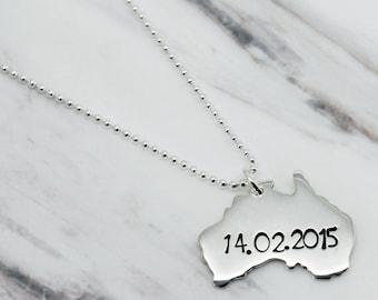 Australia necklace etsy personalised australia sterling silver necklace australia necklace silver australia pendant xmas australia map personalised aloadofball Image collections