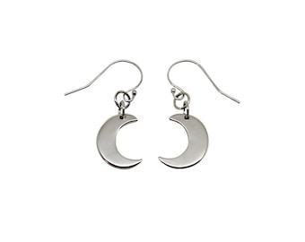Sterling SIlver Small Moon Earrings, 925 moon earrings, silver moons, silver moon, silver moon earrings, moon earrings, 925 moons, silver