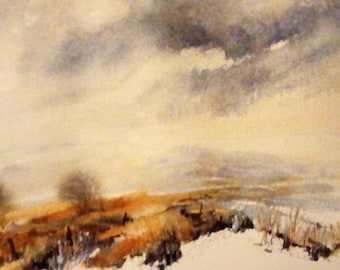 Storm light on moorland, dramatic skies, winter skies, watercolour painting