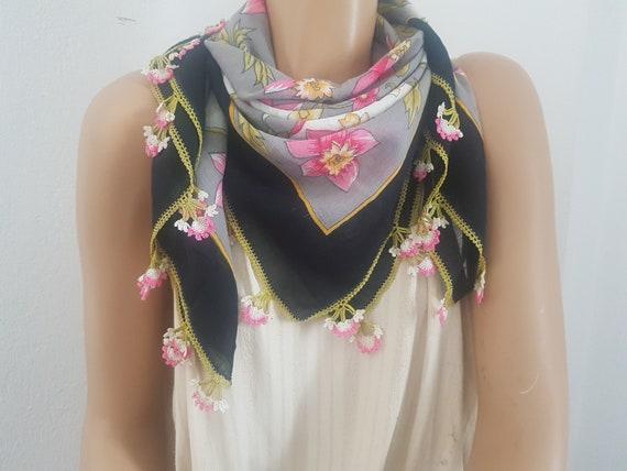turkish headscarf, pink flower, oya