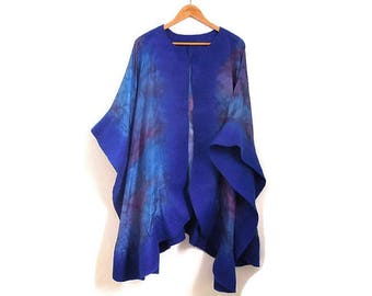 blue silk poncho with felted border, red