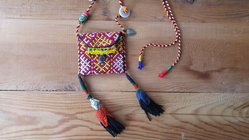 mini pouch necklace with tassels boho necklace tassel necklace
