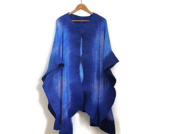 blue and violet silk poncho with felted border