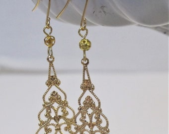 Victorian Style Filigree Earrings,  Gold-Plated Earwires, Civil War or Victorian Appropriate-Affordable Elegance