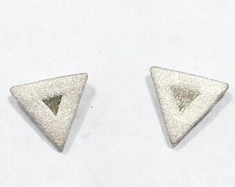 Sterling triangle diamond studs