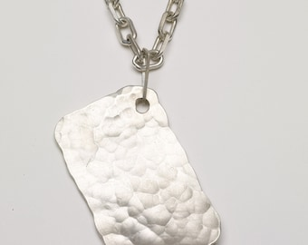 Hand hammered sterling silver dog tag