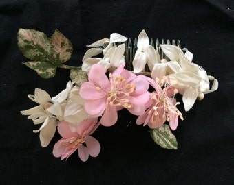 Pink, ivory and blush coloured vintage hairpiece