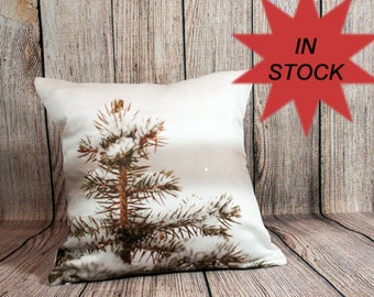 Winter Pillow Cover, Rustic Home Decor Housewarming Gift For Him, Ski Lodge Decor, Pine Tree Gift For Her, Unique Pillow Cases