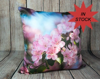 Photo Pillow Cover, 16x16 Pink Throw Cushion Case, Spring Sofa Accent, Handmade Decorative Home Decor, Bedroom Accent, Pink Botanical Art