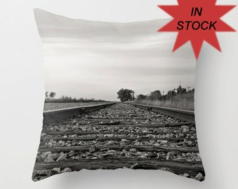 """16"""" Train Track Pillow Cover, Black and White Throw Cushion, Aluminium Grey, Man Cave Decor, Teenager Gift Ideas, Railway Worker Present"""