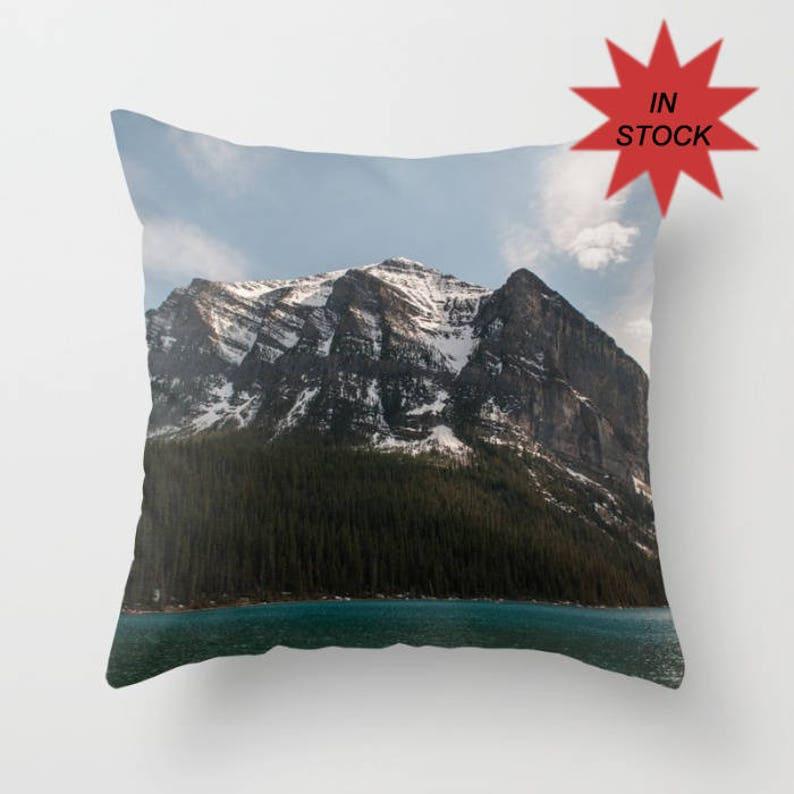 16x16 Lake Louise Cushion Cover Rustic Mountain Lodge Decor image 0