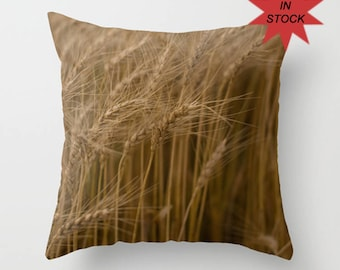 Farmhouse Pillow Cover, Rustic Country Wheat Throw Cushion Case, Camper Accent, Gift for Farmer, Botanical Art Ready to Ship In Stock