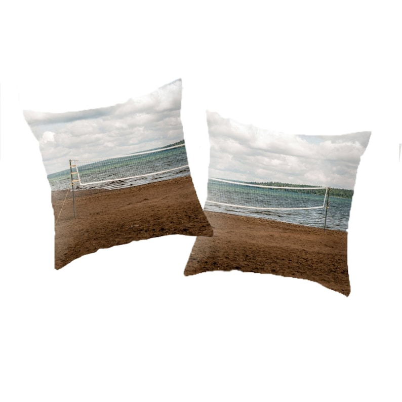 Beach Themed Pillow Covers Aqua Blue and Green Photo Cushion image 0