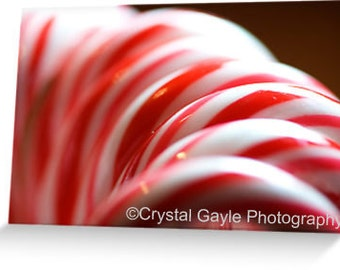 """Holiday Greeting Cards ~ Candy Cane ~ Red, White, Striped, Folded, 4.25""""x5.5"""" or 5""""x7"""", Festive, Christmas Party Invitations, For the Friend"""