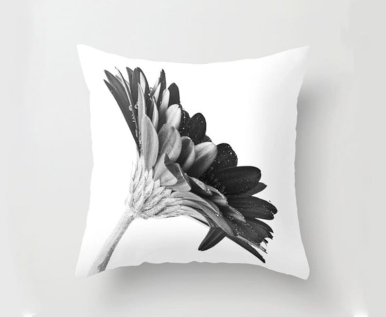 Black and White Gerbera Daisy Throw Cushion Cover Gift Idea image 0