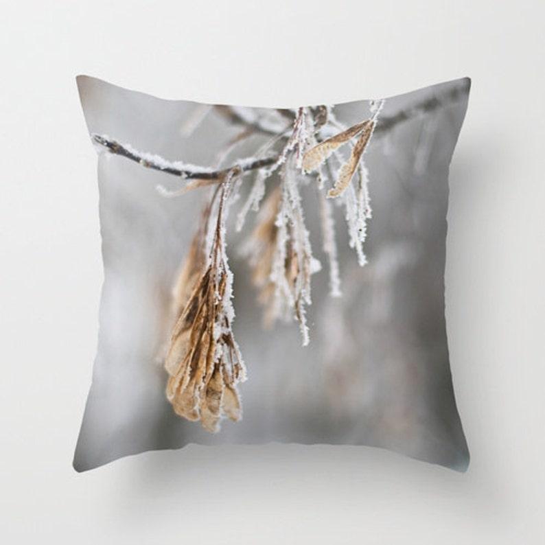 Winter Pillow Cover Aluminum Grey Winter Throw Cushion Case image 0
