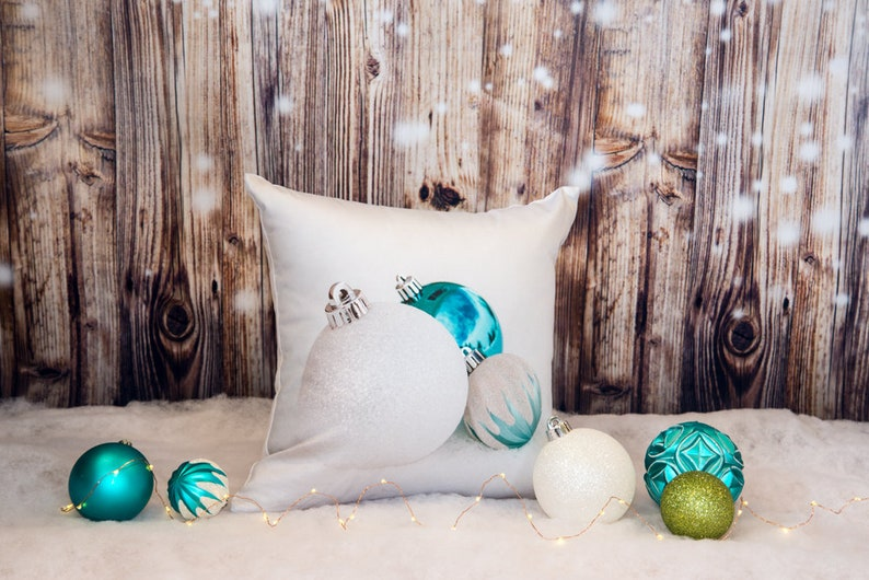 Turquoise Christmas Pillow Case  16x16 Holiday image 0