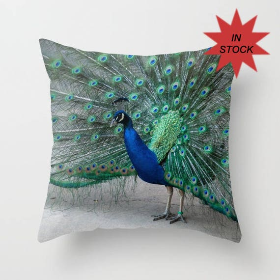 Peacock Pillow Cover Chair Throw Cushion Case Turquoise Etsy