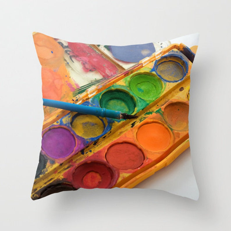 Gift for Artists Watercolor Painting Photo Pillow Cover image 0