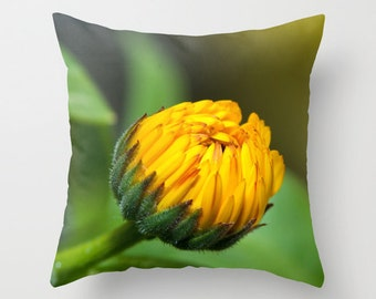 Calendula Flower Pillow Cover, Throw Cushion Case, Floral Bedroom Accent, Handmade In Canada, Victorian Home Decor, Screened In Porch Bench
