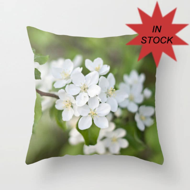 Spring Pillow Cover of Green and White Floral Photography image 0