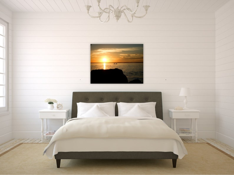 Sunset Photography Print Canoe Silhouette Romantic Bedroom image 0