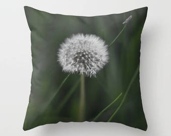 Wildflower Green Pillow Cover, Dandelion Cushion Case, Shabby Chic Home Decor, Spring Cottage Sofa Accent, Emerald Wish Decoration