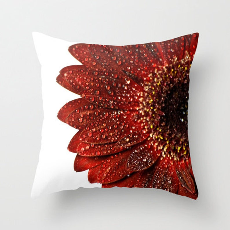 Red Pillow Cover Aurora Red Flower Throw Cushion Case image 0