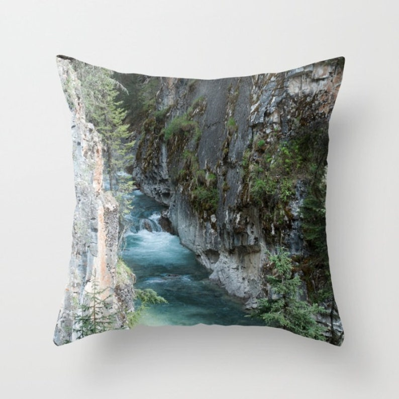 Camper Decor Rock Pillow Cover Turquoise Mountain Lodge image 0