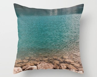 Turquoise Pillow Cover, Mountain Lodge Decor, Nature Accent Cushion Case, Nautical Sofa Throw, Lake Louise Alberta Canada, Lake House Art