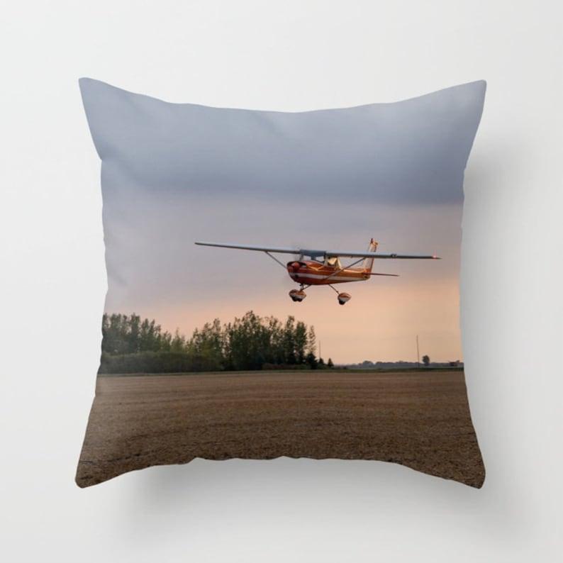 Aircraft Pillow Cover Airplane Accent Cushion Case Farmhouse image 0