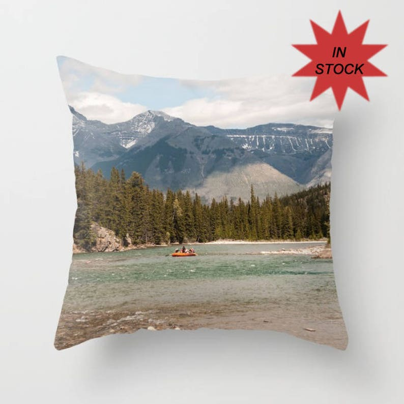 Banff Alberta Pillow Cover Bow River Cushion Case Rustic image 0