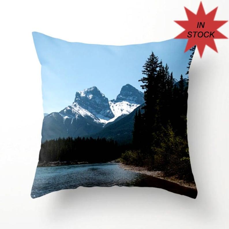14 Pillow Cover Mountain Lodge Sofa Decor Blue Throw image 0