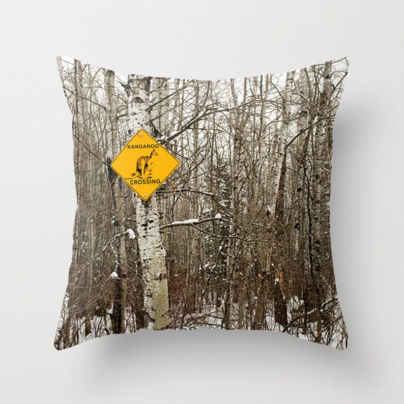 Kangaroo Crossing Woodland Pillow Cover Rustic Home Decor image 0