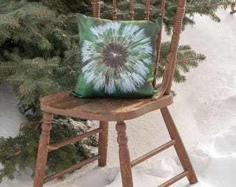 Spring Green Pillow Cover, Dandelion Cushion Case, Shabby Chic Home Decor, Wildflower Cottage Sofa Accent, Emerald Wish Decoration