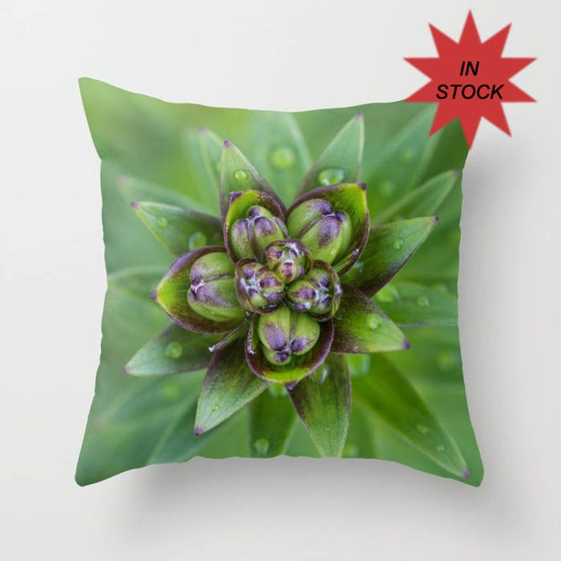 Green Throw Pillow Cover Floral Bud Print Chair Cushion Case image 0