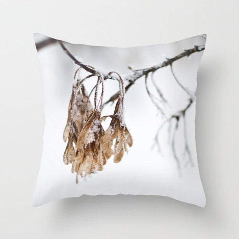 Unique Winter Pillow Cover Designer Throw Cushion Grey image 0