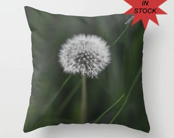 """16"""" Wildflower Green Pillow Cover, Dandelion Cushion Case, Shabby Chic Home Decor, Spring Cottage Sofa Accent, Emerald Wish Decoration"""