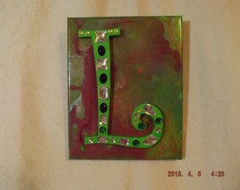 Personalized Letter in Mixed Media Design 8x10
