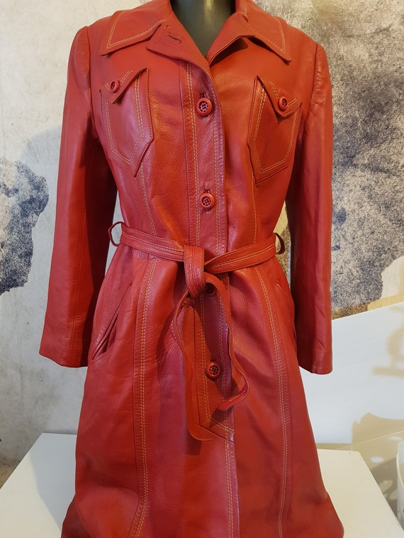 70s Vintage Real Red Leather Women's Trench Coat S