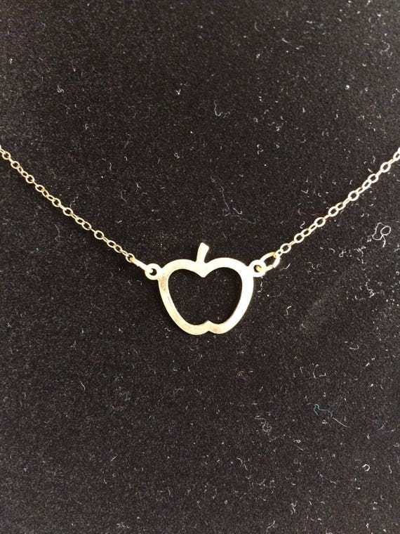 Apple Necklace, ships free, Apple Charm, Gold, Per