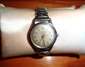 3a26c8b37db Vintage 1960 s Northfield Mens Silver Toned Red Second Hand Wind Up Wrist  Watch