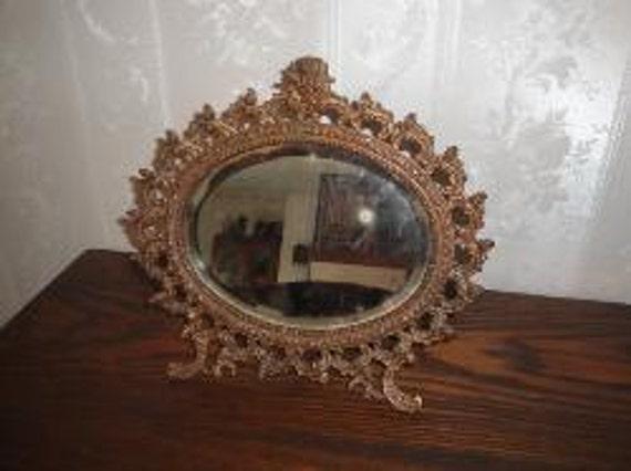 Antique Angel Cherub Cast Metal Gold Gilt Oval Vanity