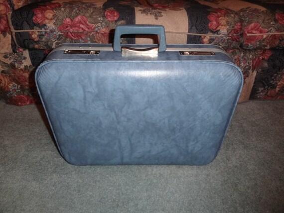 Vintage Light Blue Marbled Small Suitcase / Luggag