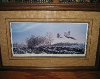"Contemporary 1980's  Richard Plasschaert ""Winter Marsh Wildlife Pheasants Signed & Numbered Lithograph  Art Print"