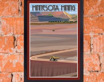 Art Deco Vintage-Inspired Iron Mining Poster